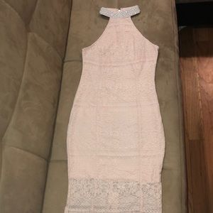 Pink lace dress w pearls !